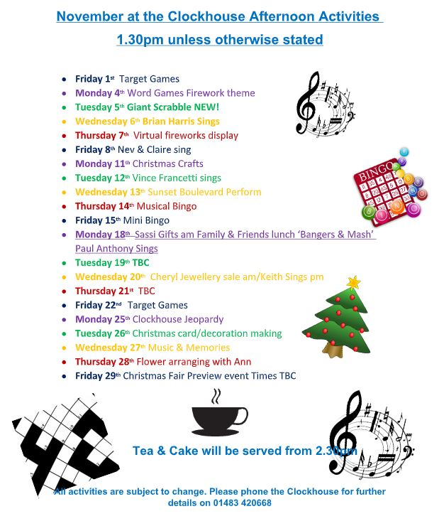 List of activities taking place at the Clockhouse during November