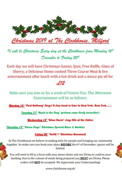 Christmas 2019 at The Clockhouse