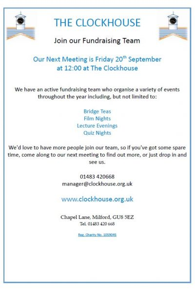 Clockhouse Fundraising Team Flyer