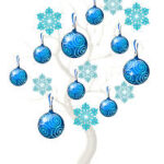 Christmas baubles and stars in blue